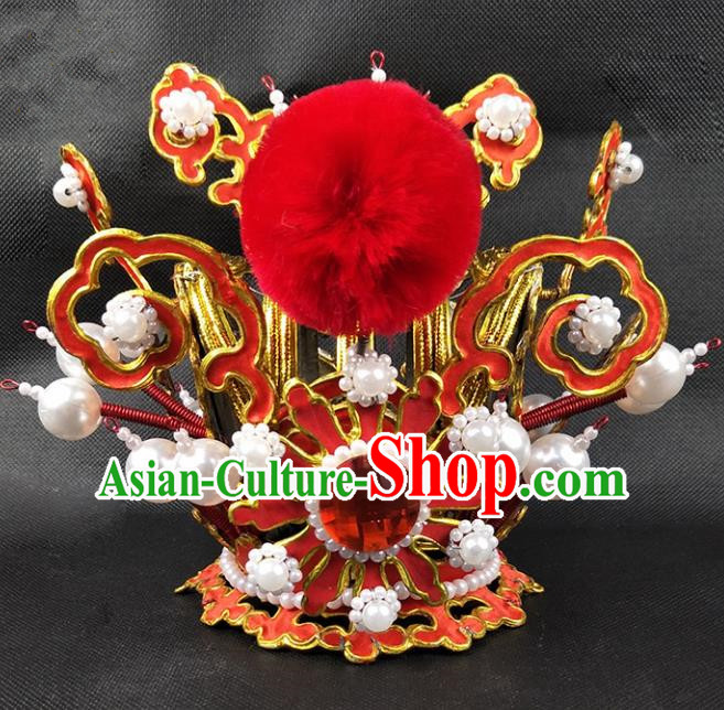 Chinese Traditional Peking Opera Niche Hair Accessories Ancient Prince Hairdo Crown for Men
