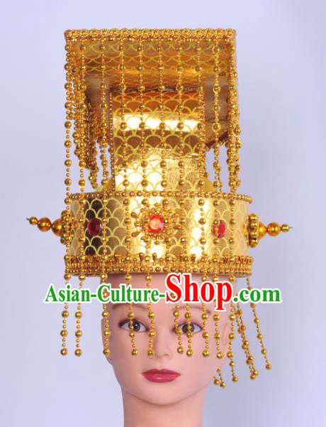 Chinese Traditional Peking Opera Emperor Hat Ancient King Helmet for Adults
