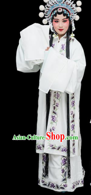 Chinese Traditional Peking Opera Diva Costumes Ancient Countess White Dress for Adults