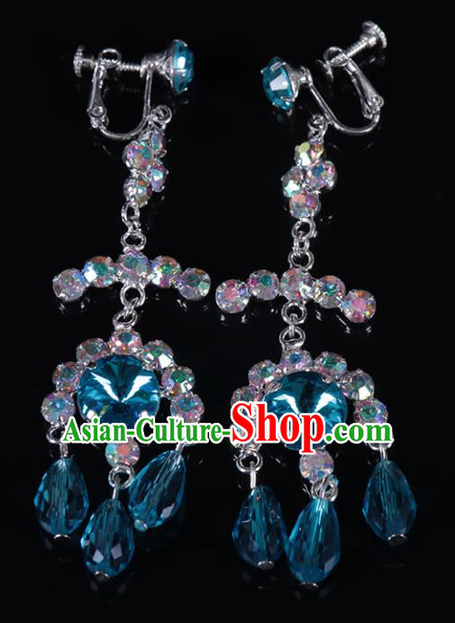 Chinese Traditional Peking Opera Jewelry Accessories Blue Crystal Earrings for Women