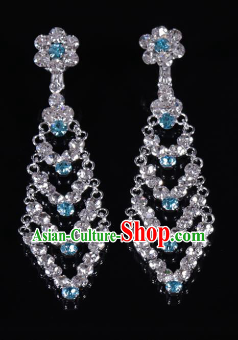 Chinese Traditional Peking Opera Diva Jewelry Accessories Blue Crystal Earrings for Women
