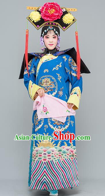 Chinese Traditional Peking Opera Diva Costumes Ancient Qing Dynasty Empress Blue Dress for Adults