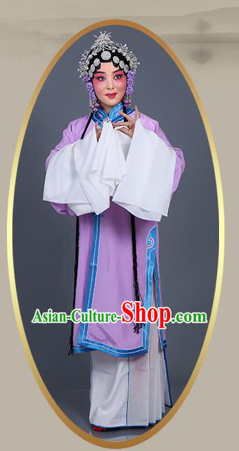 Chinese Traditional Beijing Opera Actress Costumes Ancient Young Mistress Purple Dress for Adults