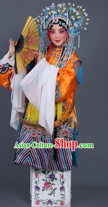 Chinese Traditional Beijing Opera Actress Costumes Ancient Imperial Consort Golden Embroidered Robe for Adults