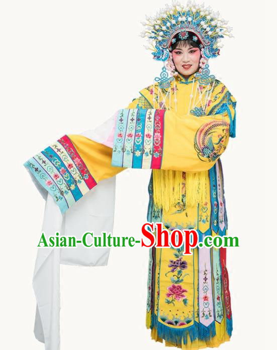 Chinese Traditional Beijing Opera Actress Costumes Ancient Imperial Consort Yellow Embroidered Dress for Adults