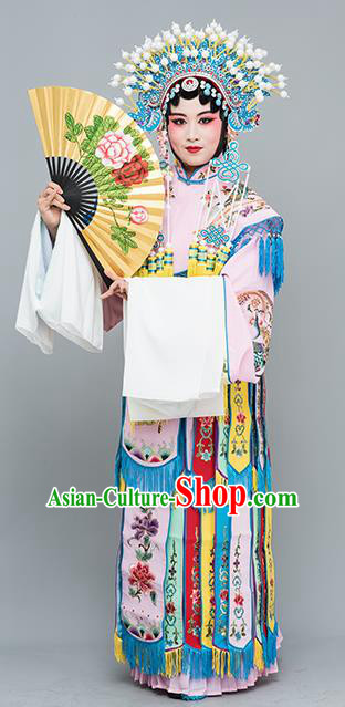 Chinese Traditional Beijing Opera Actress Costumes Ancient Imperial Consort Pink Embroidered Dress for Adults