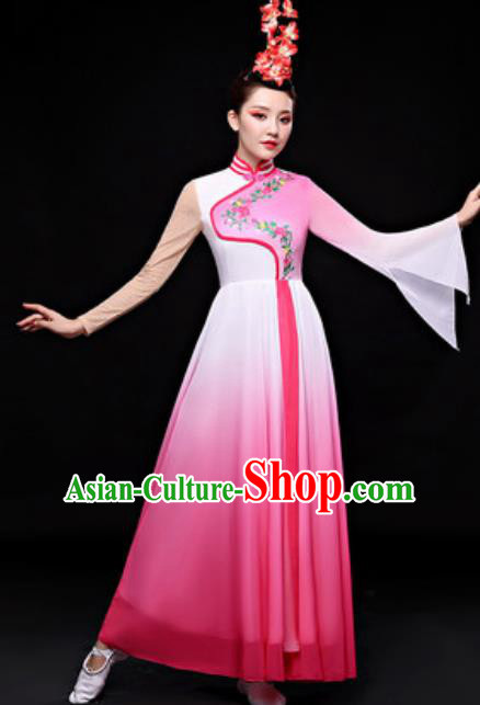 Chinese Traditional Folk Dance Costume Classical Dance Fan Dance Pink Dress for Women