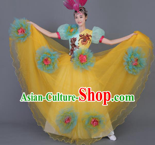 Professional Opening Dance Costume Stage Performance Flowers Dress for Women