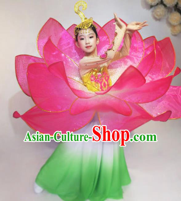Professional Opening Dance Costume Stage Performance Lotus Dance Dress for Kids