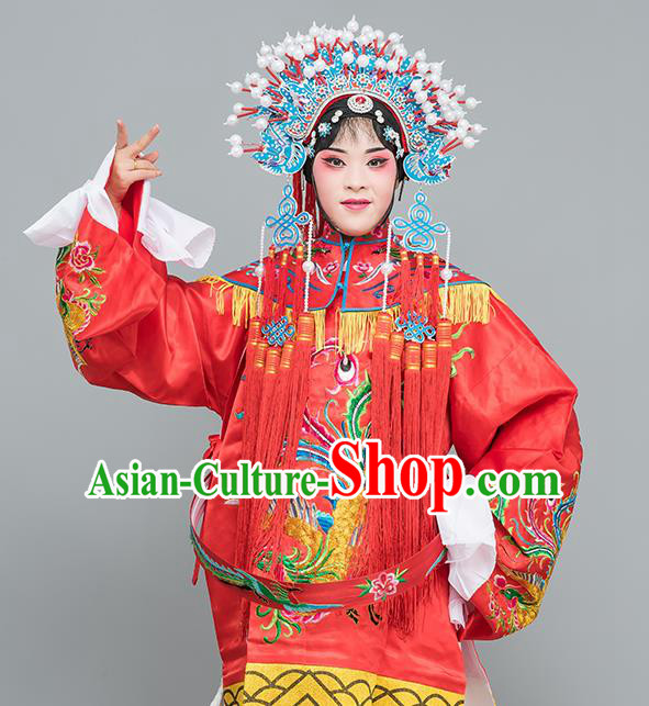 Chinese Traditional Peking Opera Diva Costumes Ancient Imperial Consort Red Dress for Adults