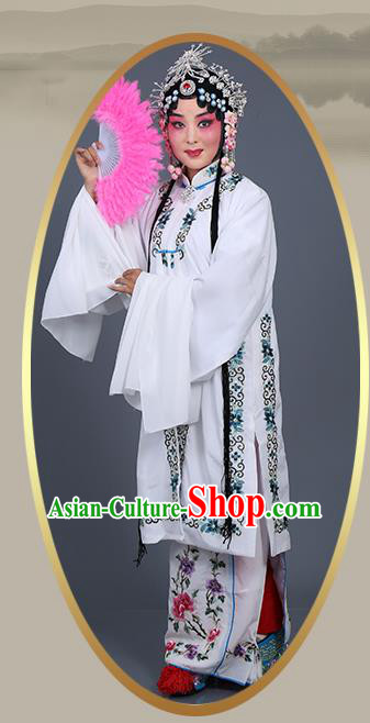 Chinese Traditional Beijing Opera Actress Costumes Ancient Nobility Lady White Dress for Adults