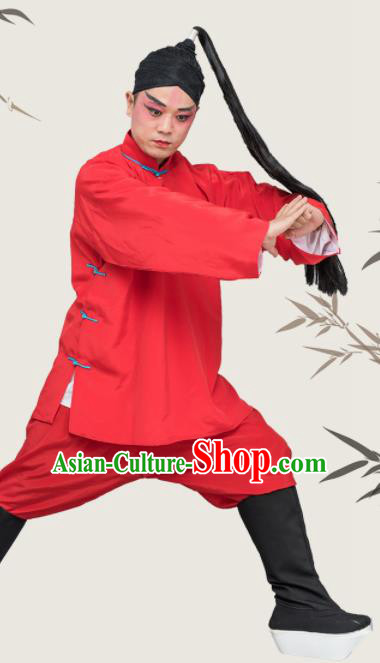 Chinese Traditional Peking Opera Takefu Costume Ancient Prisoner Red Clothing for Adults