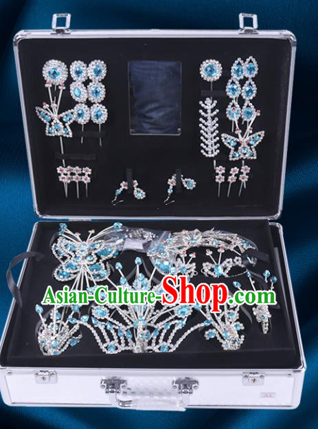 Chinese Traditional Peking Opera Princess Blue Crystal Hair Accessories Ancient Fairy Phoenix Hairpins for Women