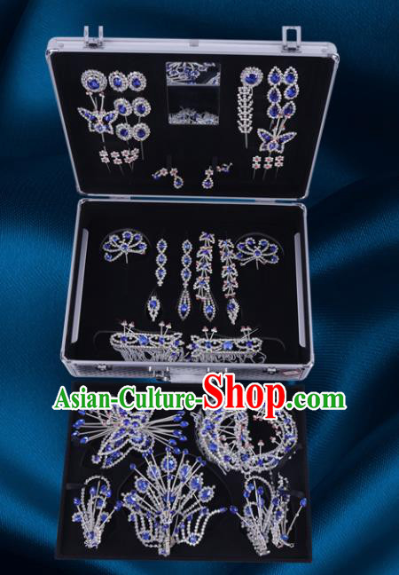 Chinese Traditional Peking Opera Princess Royalblue Crystal Hair Accessories Ancient Fairy Phoenix Hairpins for Women