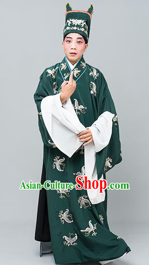 Chinese Traditional Peking Opera Niche Costume Ancient Gifted Scholar Green Butterfly Robe for Adults