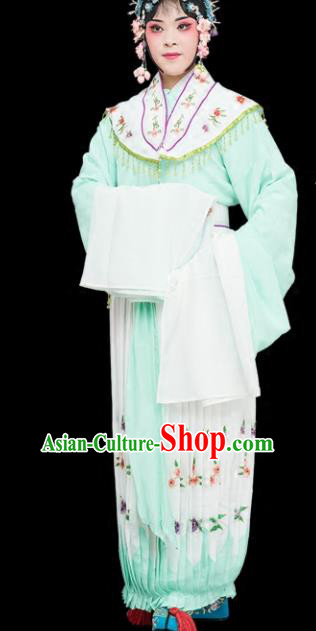 Chinese Traditional Peking Opera Diva Costumes Ancient Nobility Lady Green Dress for Adults
