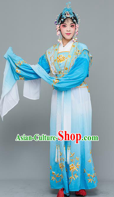 Chinese Traditional Peking Opera Nobility Lady Costumes Ancient Peri Blue Dress for Adults