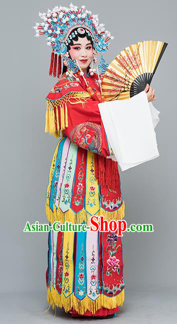 Chinese Traditional Peking Opera Imperial Consort Red Costumes Ancient Palace Lady Dress for Adults