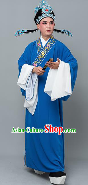 Chinese Traditional Peking Opera Niche Costume Ancient Gifted Scholar Blue Robe for Adults
