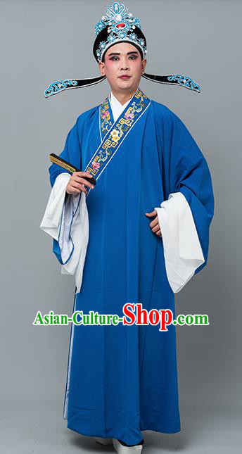 Chinese Traditional Peking Opera Niche Costume Ancient Gifted Scholar Royalblue Robe for Adults