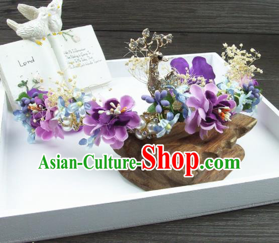 Top Grade Handmade Wedding Hair Accessories Purple Flowers Deer Hair Stick Headwear for Women
