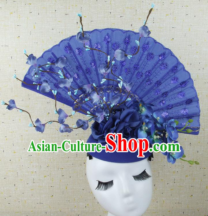 Handmade Halloween Cosplay Hair Accessories Chinese Stage Performance Blue Hair Clasp Headwear for Women