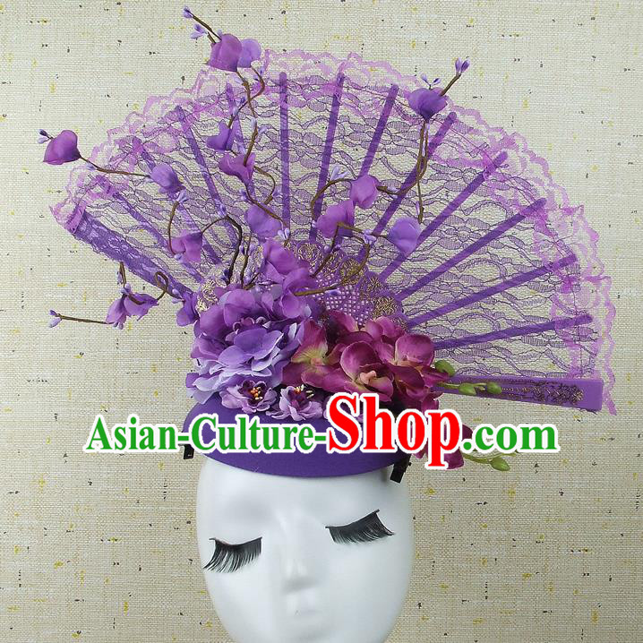 Handmade Halloween Cosplay Hair Accessories Chinese Stage Performance Purple Lace Hair Clasp Headwear for Women