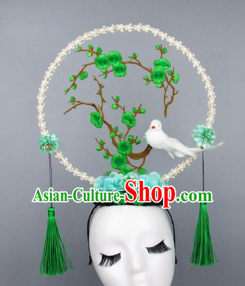 Handmade Halloween Green Plum Blossom Hair Accessories Chinese Stage Performance Hair Clasp Headdress for Women