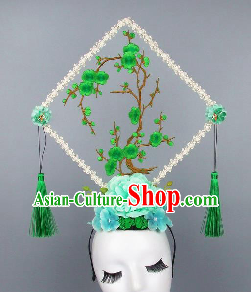 Handmade Halloween Green Plum Blossom Square Hair Accessories Chinese Stage Performance Hair Clasp Headdress for Women