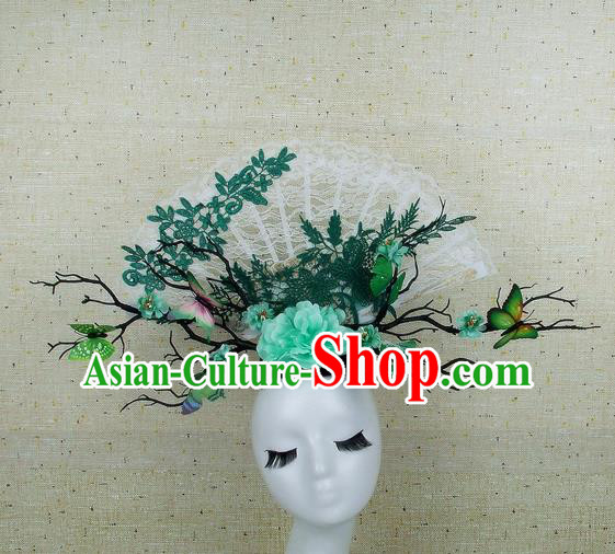 Handmade Halloween Green Peony Butterfly Hair Accessories Chinese Stage Performance Hair Clasp Headdress for Women