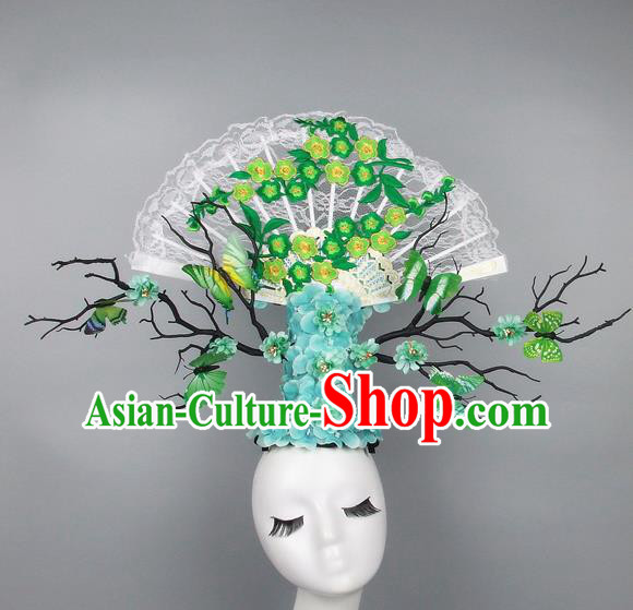 Handmade Halloween Green Plum Blossom Butterfly Hair Accessories Chinese Stage Performance Hair Clasp Headdress for Women