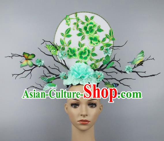 Handmade Halloween Green Butterfly Hair Accessories Chinese Stage Performance Hair Clasp Headdress for Women