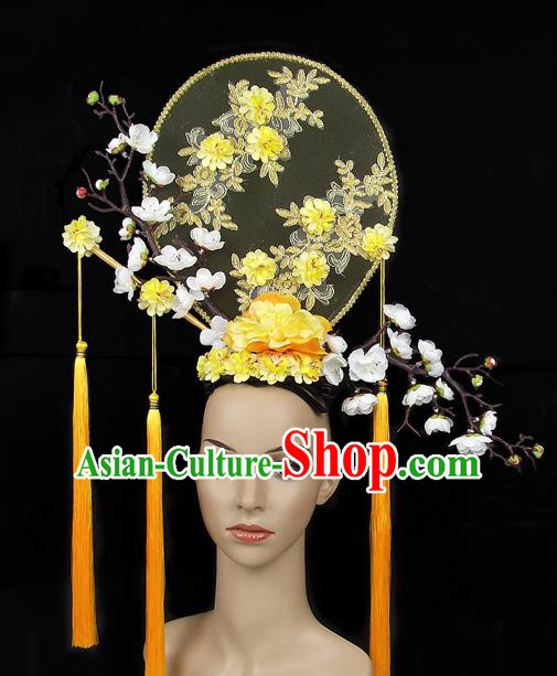 Handmade Halloween Yellow Plum Blossom Hair Accessories Chinese Stage Performance Hair Clasp Headdress for Women