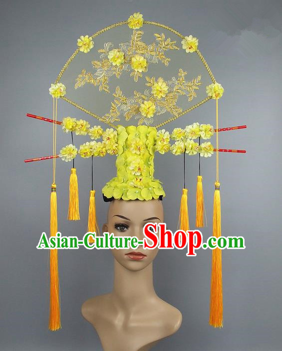 Handmade Halloween Yellow Flowers Hair Accessories Chinese Stage Performance Hair Clasp Headdress for Women