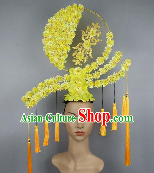 Handmade Halloween Queen Yellow Flowers Hair Accessories Chinese Stage Performance Hair Clasp Headdress for Women