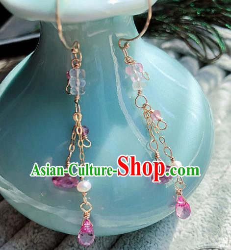 Top Grade Chinese Handmade Tassel Earrings Traditional Bride Jewelry Accessories for Women