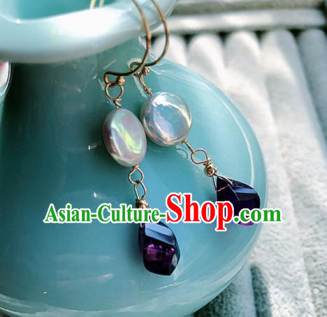 Top Grade Chinese Handmade Amethyst Earrings Traditional Bride Jewelry Accessories for Women