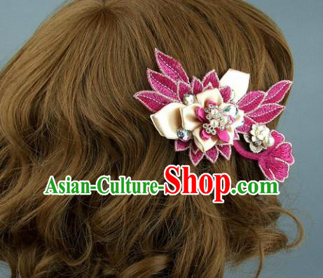 Top Grade Handmade Rosy Hair Claw Traditional Wedding Hair Accessories Headdress for Women