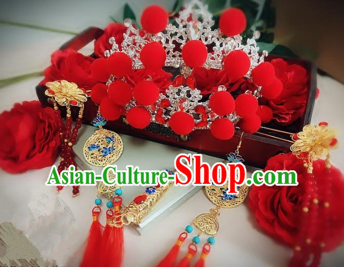 Handmade Chinese Ancient Wedding Hair Accessories Hanfu Hairpins Complete Set for Women