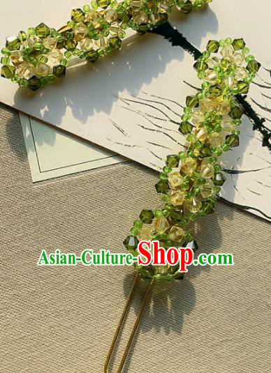 Handmade Chinese Ancient Hair Accessories Hanfu Green Hairpins for Women