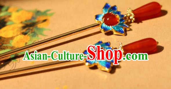 Chinese Traditional Handmade Agate Hair Clip Hair Accessories Ancient Blueing Lotus Hairpins for Women