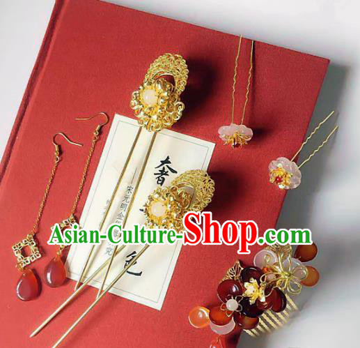 Handmade Chinese Ancient Hair Accessories Hanfu Hair Comb Hairpins Complete Set for Women