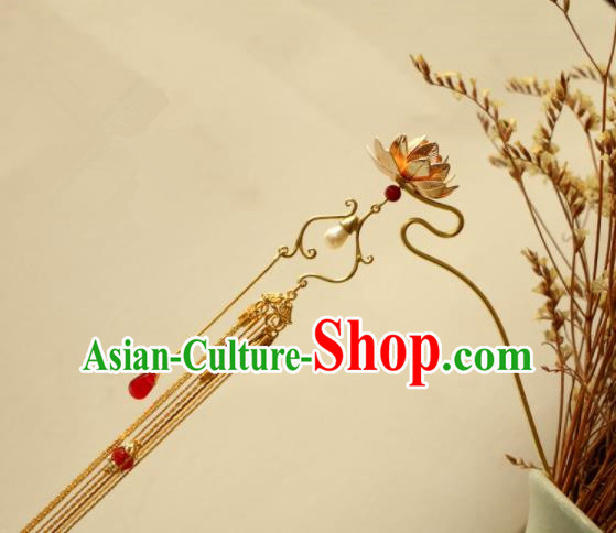 Chinese Traditional Handmade Lotus Tassel Hair Clip Hair Accessories Ancient Hairpins for Women