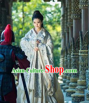 Chinese Traditional White Hanfu Dress Ancient Warring States Period Princess Embroidered Costumes for Women