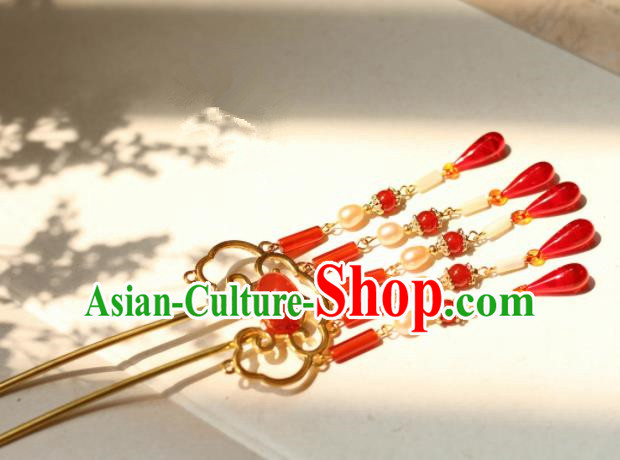 Chinese Traditional Handmade Hair Clip Hair Accessories Ancient Red Agate Tassel Hairpins for Women