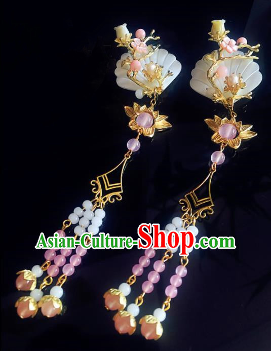 Chinese Handmade Ancient Shell Hair Claws Hair Accessories Hanfu Hairpins for Women