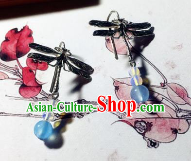Chinese Ancient Hanfu Jewelry Accessories Traditional Dragonfly Earrings for Women
