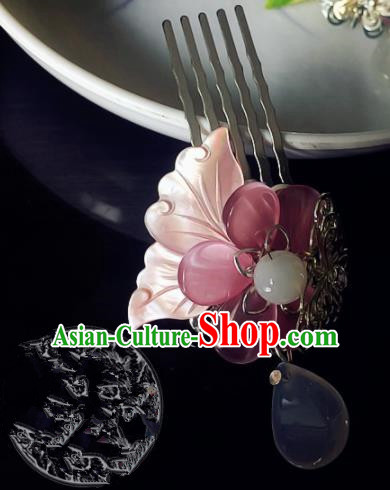Chinese Handmade Ancient Shell Butterfly Hair Comb Hair Accessories Hanfu Hairpins for Women