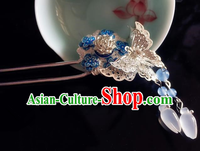 Chinese Handmade Ancient Butterfly Mangnolia Hair Clip Hair Accessories Hanfu Hairpins for Women