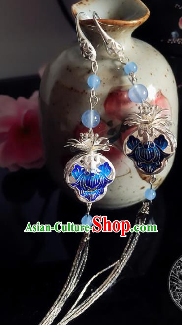 Chinese Ancient Hanfu Jewelry Accessories Traditional Blueing Earrings for Women